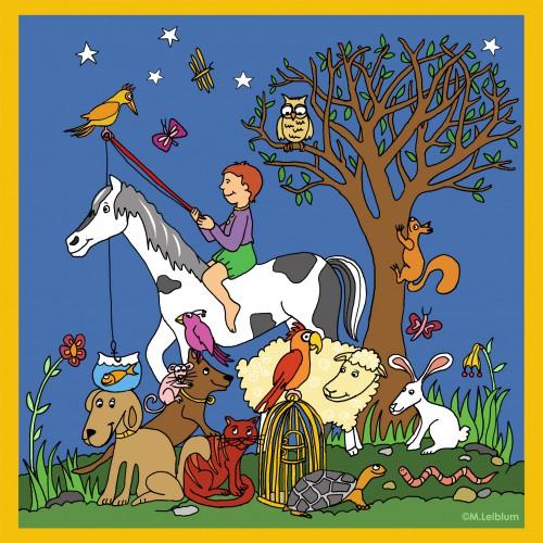 Vissende jongen op paard omringd door een boel vrolijke dieren