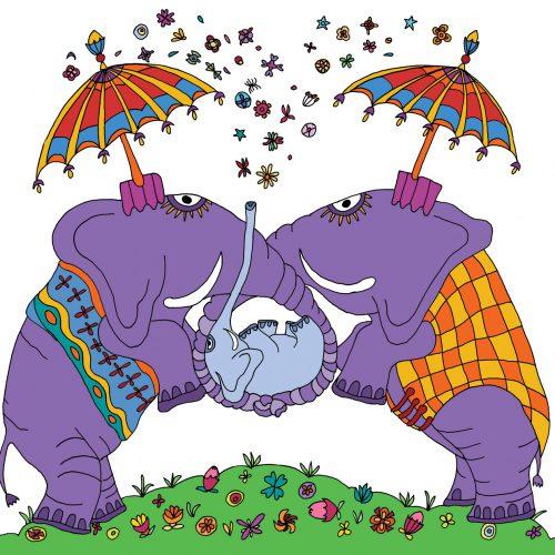geboorte kaartje olifant illustratie