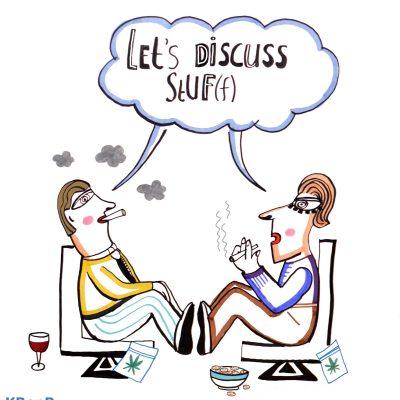sneltekening StUF rokende figuren, let's discuss stuff