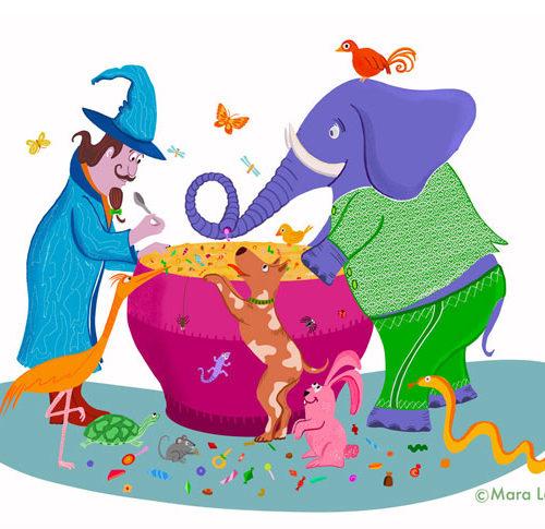 tovenaar en zijn dierenvrienden eten samen snoepsoep